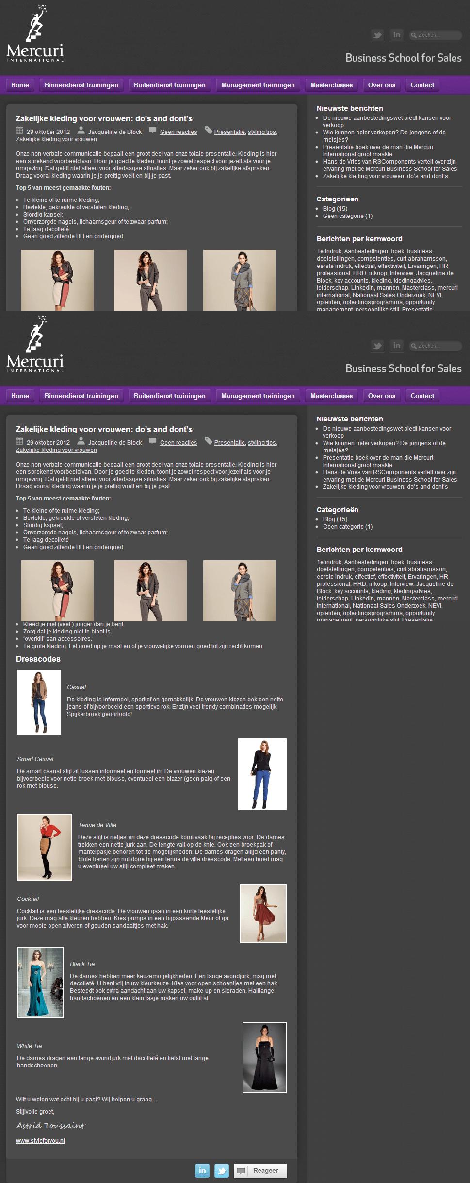 Zakelijke kleding voor vrouwen- do's and dont's - Mercuri Training