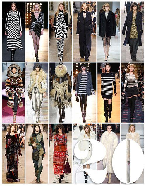 collage van stijlen op een rij